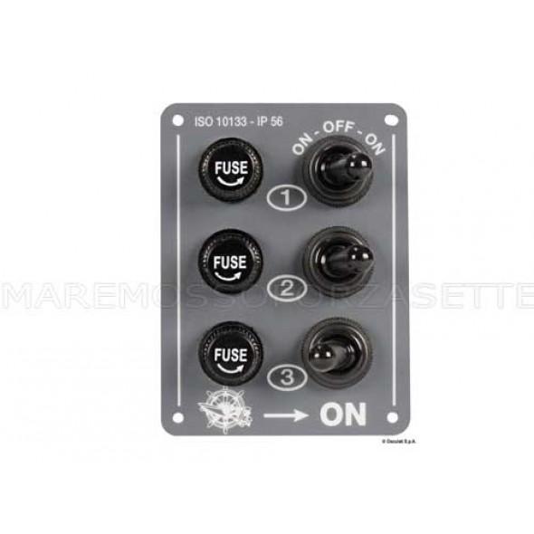 Mini pannello elettrico stagno 3 interruttori