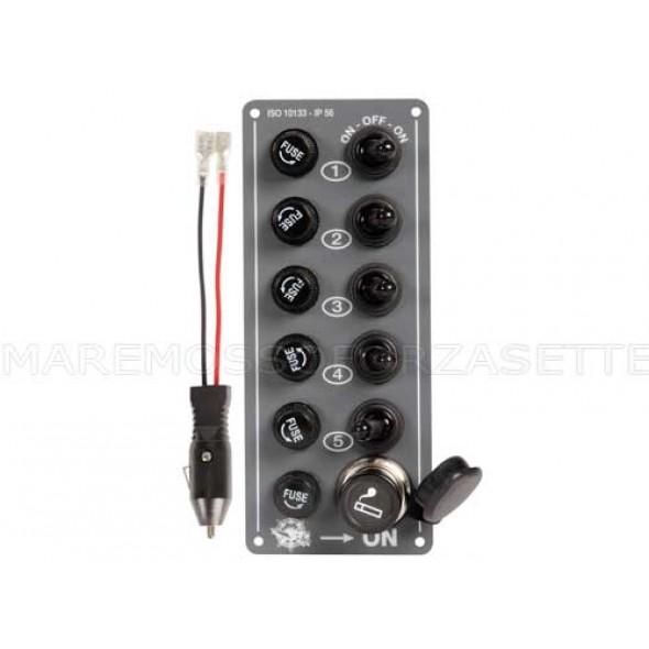 Mini pannello elettrico stagno 5 interruttori + accendisigari