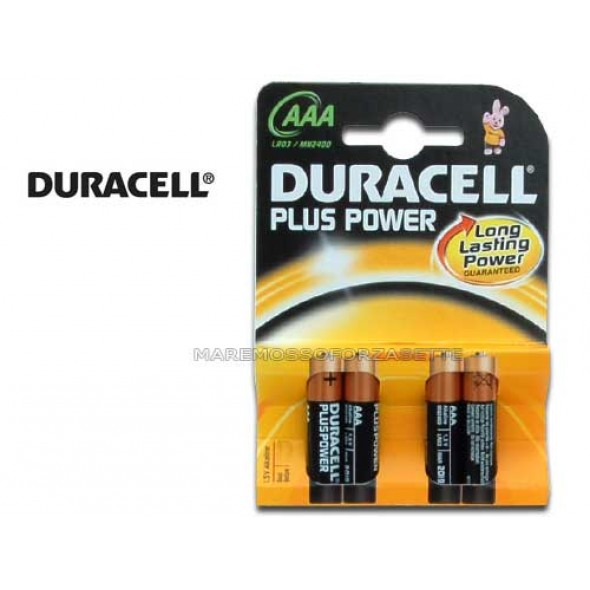 BLISTER PILE DURACELL TIPO MINISTILO AAA (4 PILE)