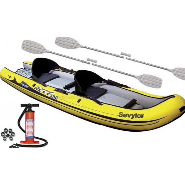 sevylor reef 300 canoa gonfiabile con pagaie