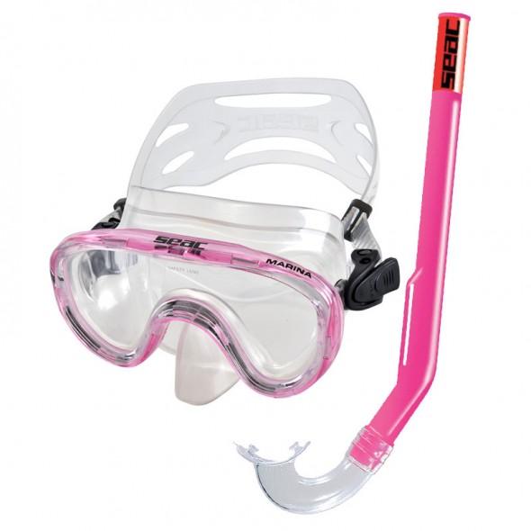 Maschera per bambini Seac Sub Marina rosa con tubo
