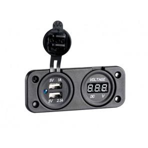 PRESA NERA USB DOPPIA CON VOLTMETRO DYSPLAY LED