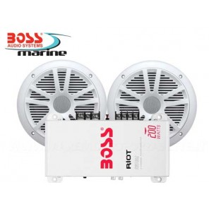 AMPLIFICATORE BOSS MARINE MR1002 PER RADIO BARCA CON 2 CASSE
