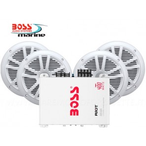 AMPLIFICATORE BOSS MARINE MR1004 PER RADIO BARCA CON 4 CASSE