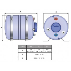 Boiler Nautico Scalda Acqua Quick B3 15 Litri 1200w Serbatoio Composito