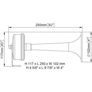 Tromba Marco TCE in ottone 250mm 12v DC verniciata bianco