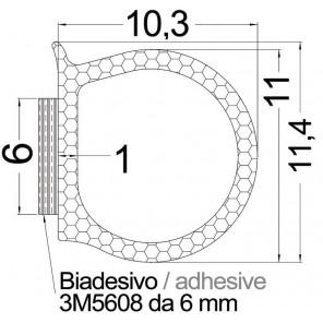 GUARNIZIONE PER SPORTELLI E GAVONI ADESIVA 3M mm 11,4x10,3
