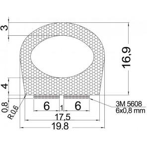 GUARNIZIONE PER SPORTELLI E GAVONI ADESIVA 3M mm 19,8x16,90