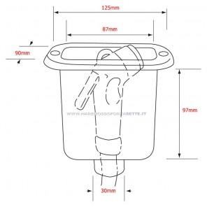 Contenitore rettangolare per doccia barca con tappo