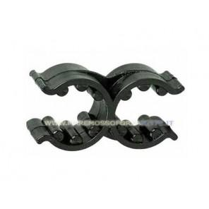 Supporto elastico doppio per tubi da 18mm a 25mm