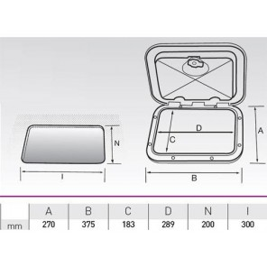 Sportello con contenitore piccolo serie top 375x270 mm