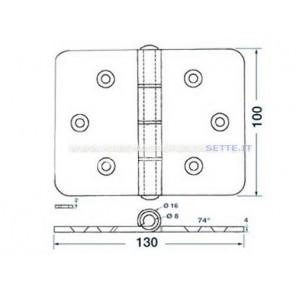 CERNIERA INOX RETTANGOLARE mm 130 x 100 MAXI SPESSORE 4mm