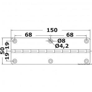 Spezzone Cerniera Inox al metro mm 50x150