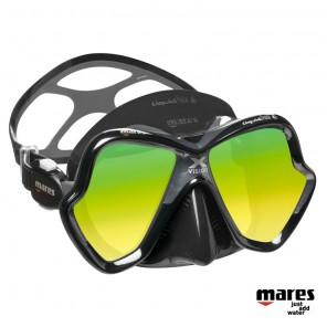 Maschera Mares X-Vision ultra Liquidskin nera lenti oro