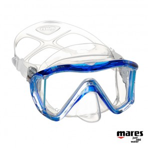 Maschera sub Mares I3 in Liquidskin Trasparente / Blue