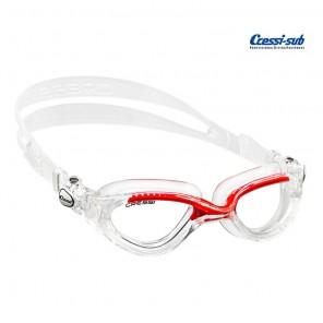 Occhialini nuoto Cressi Sub Flash in silicone trasp/rosso
