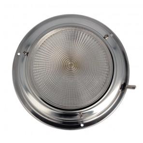 Plafoniera inox con interruttore 140 mm