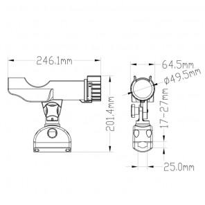 Portacanna in plastica orientabile per battagliola Ø 20 - 25 mm