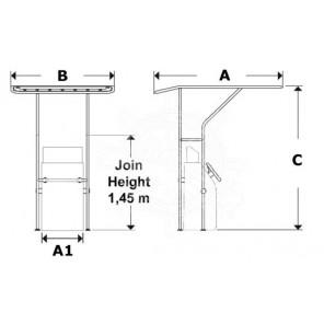 T-TOP in Alluminio Ø 32 mm Per Barca Misura 1
