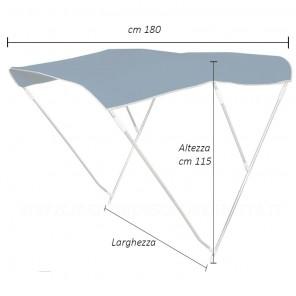 Tendalino per barca telo BLU pieghevole 3 archi altezza cm 110