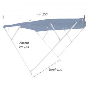 Tendalina Barca in Alluminio 4 Archi Telo BLU